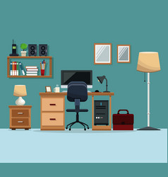 workspace desk chair computer floor lamp mirror vector image