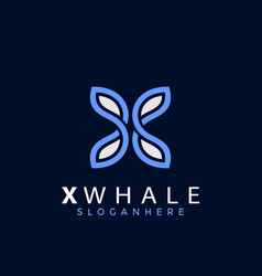 X latter whale logo designs vector