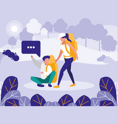 young couple talking in the landscape vector image