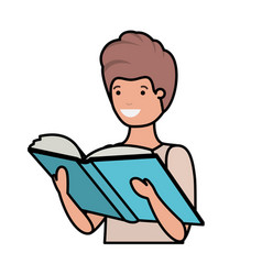 Young student reading book vector