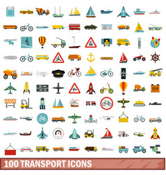 100 transport icons set flat style vector image