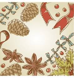 Christmas hand drawn ink retro postcard vector image