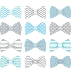 Cute Blue and Grey Bow Tie Collection vector image vector image