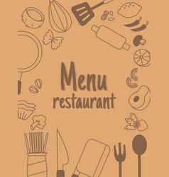 menu rastaurant with line icon vector image
