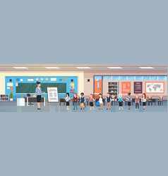 school lesson female teacher with pupils standing vector image
