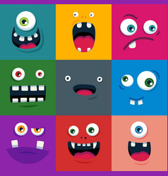 set of cartoon cute monster faces flat vector image