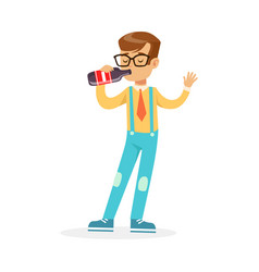 cute boy drinking soda from a bottle colorful vector image