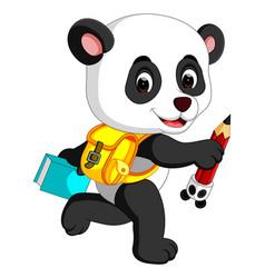 cute panda on his way to school vector image