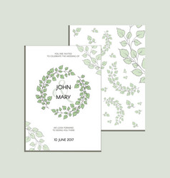 invitation with green leaves modern vector image