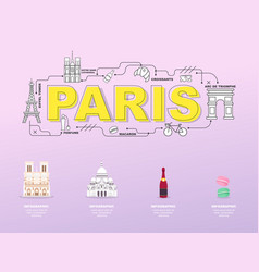 paris sightseeing tour with landmark icons in vector image vector image