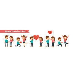 set of characters couples happy valentines day vector image vector image