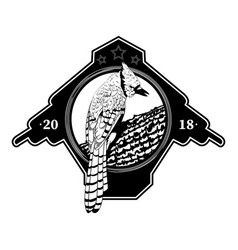 black and white logo with a bird vector image