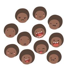 cute black boy emoji isolated faces vector image vector image