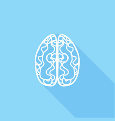 icon brain with a long shadow vector image