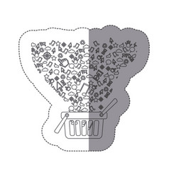 sticker silhouette shopping basket with vector image