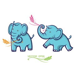 baby elephant with leaves vector image vector image