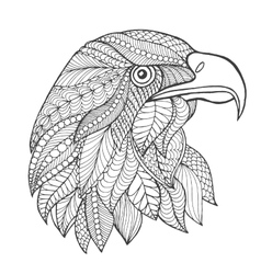 Eagle head Adult antistress coloring page vector image
