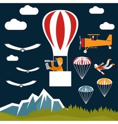 extreme selfie air balloon flat design vector image