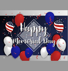 happy memorial day background design with balloon vector image vector image