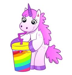 unicorn drinks rainbow cocktail vector image vector image