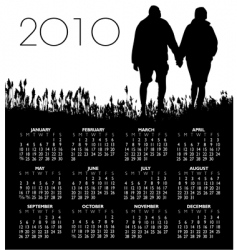 2010 people grass couple calendar vector