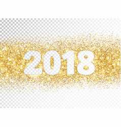 2018 glitter typography isolated on transparent vector