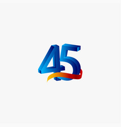 45 years anniversary celebration number blue vector
