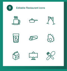 9 restaurant icons vector image