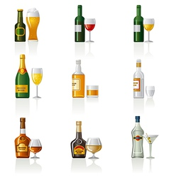 Alcohol icon set vector