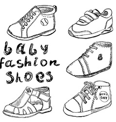 Baby fashion shoes set sketch handdrawn isolated vector