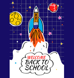 back to school poster with doodles rocket and vector image