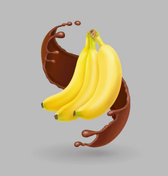 Banana in chocolate splash realistic fruit vector