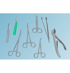 basic surgical instruments vector image