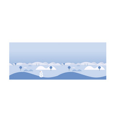 beautiful winter landscape with snowman hills and vector image
