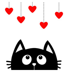 black cat looking up to hanging red hearts dash vector image