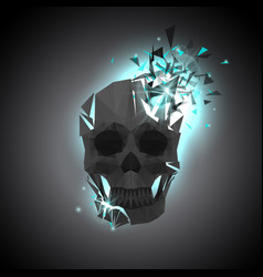 Black polygonal skull with explosion vector