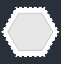 Blank hexagon postage stamp vector