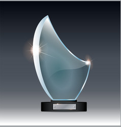 Blank tall glass trophy mockup empty acrylic vector