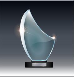 blank tall glass trophy mockup empty acrylic vector image