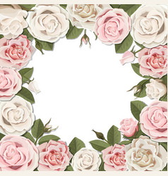 Blossom pink and white rose flowers frame vector