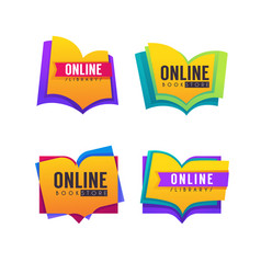book store and online library collection of logo vector image