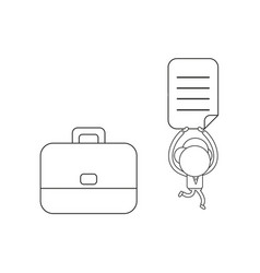 businessman character with briefcase and running vector image