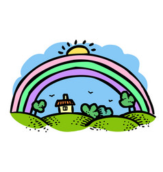 Cartoon image of rainbow icon vector