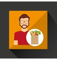 Cartoon man hipster with shop bag healthy food vector