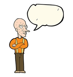 cartoon mean old man with speech bubble vector image