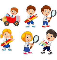 cartoon school children cartoon collection set vector image