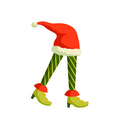 christmas elf feet and santa hat vector image