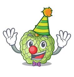 Clown ripe sugar apple fruit on mascot vector