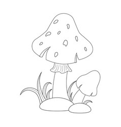 Colorless funny cartoon red mushrooms with grass vector