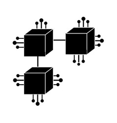 Contour squares digital connections with circuits vector